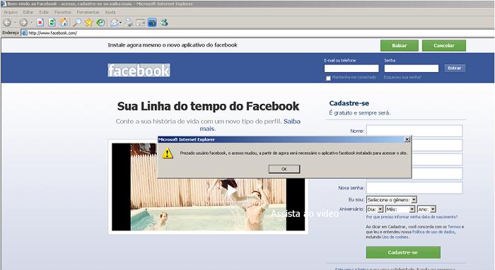 Site-clone do Facebook pede a instalação de plugin malicioso